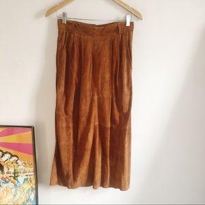 Vintage Bally Switzerland Brown Suede Midi Skirt